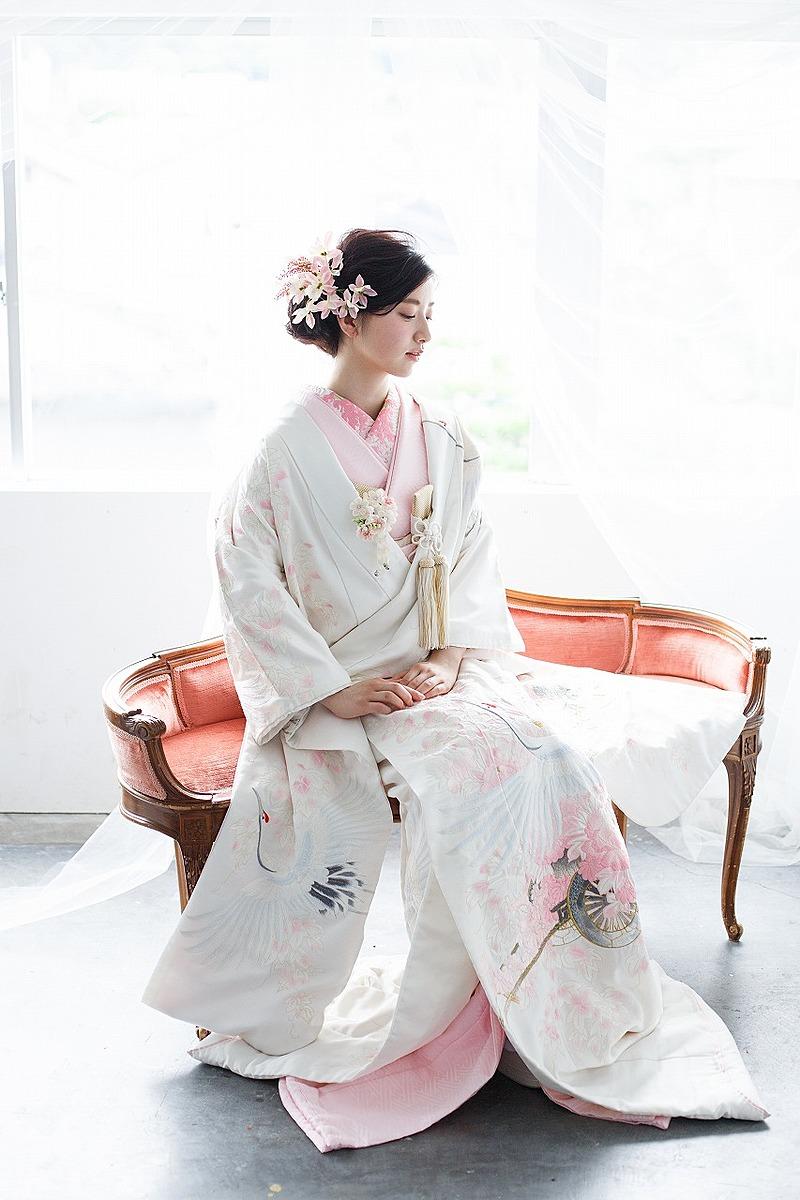 鶴花車刺繍