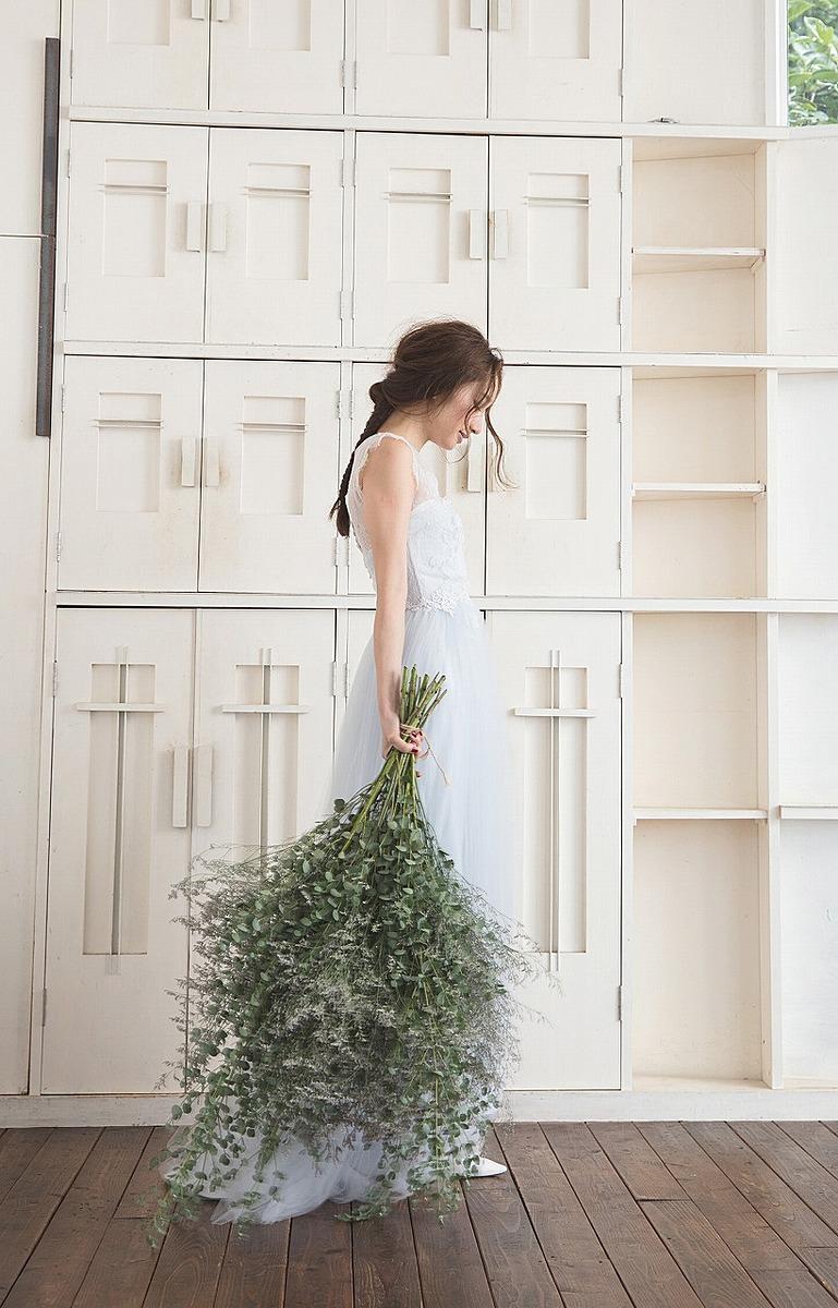 ブルーグレー/リバーレースドレス