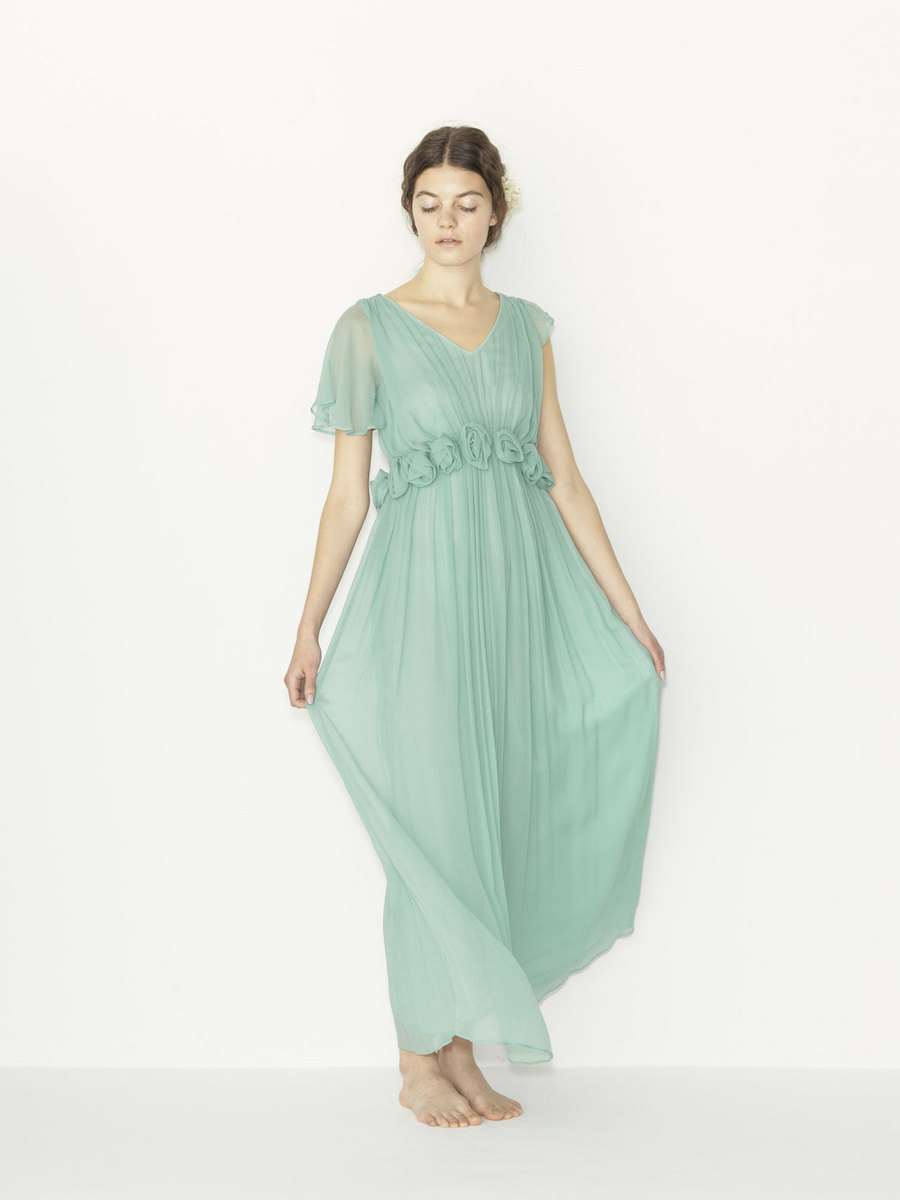 silk yoryu corsage cape color dress