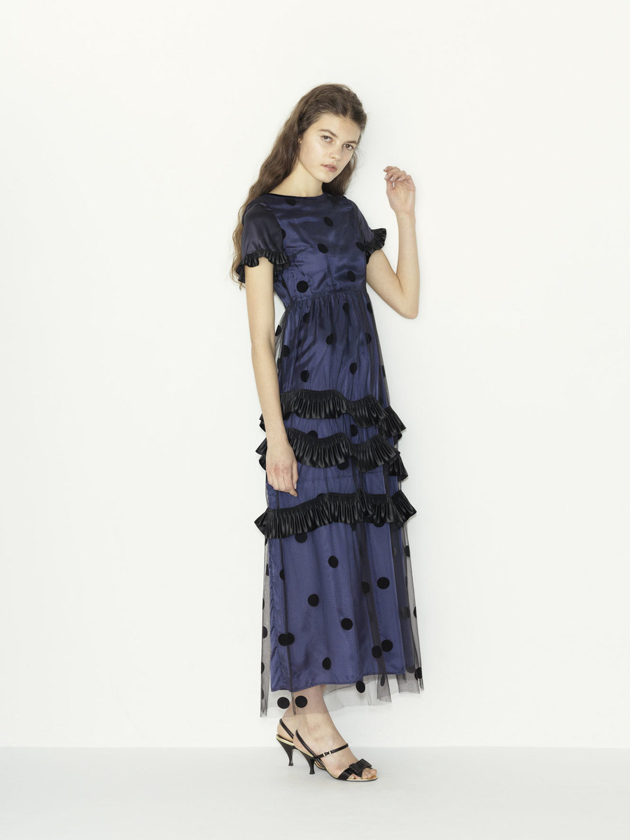 tulle dots x satin pleats ribbon color dress