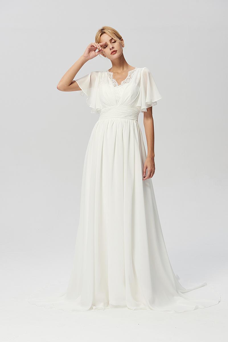 フレア袖付きドレス