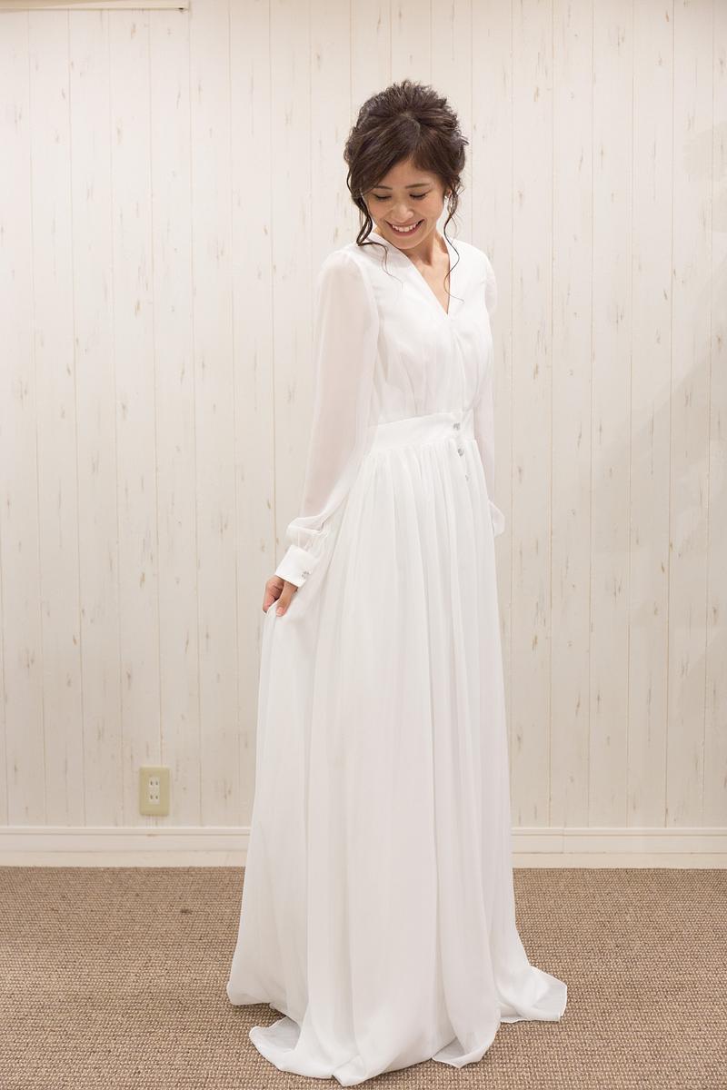 長袖シフオンドレス