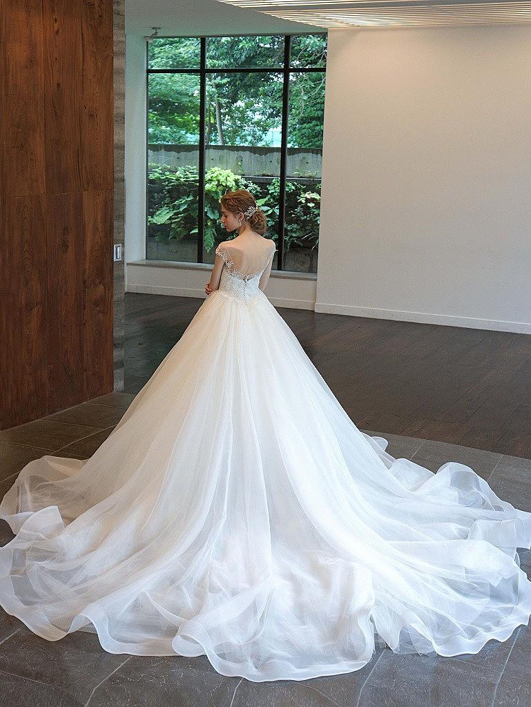 繊細シースルーレース美しいオーガンジードレス