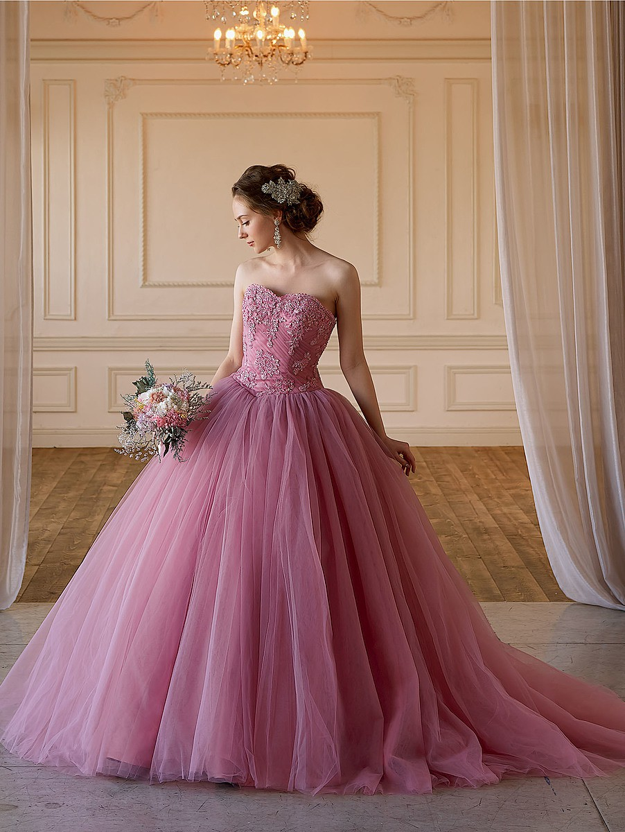 (Emily)グレイッシュピンクのチュールドレス