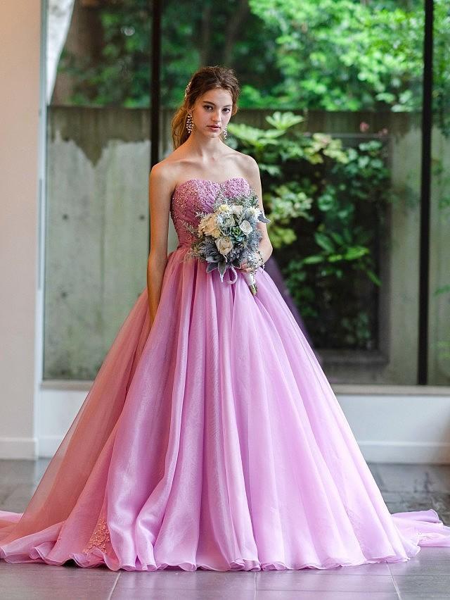 Helena(ヘレナ)グレイッシュパープルのオーガンジードレス