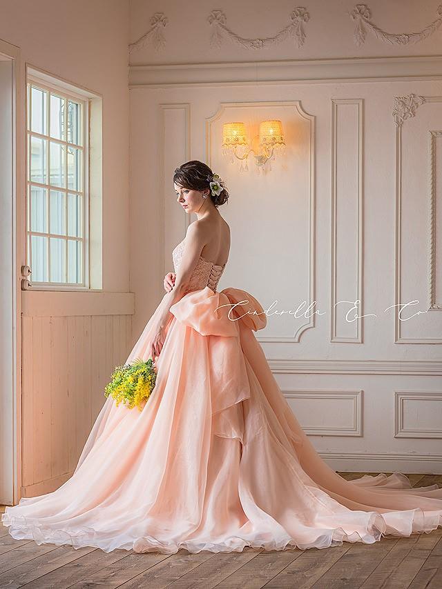 Helena(ヘレナ)アプリコットピンクのオーガンジードレス