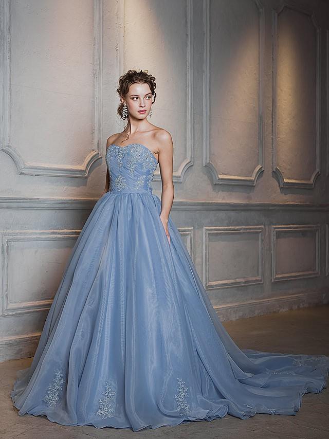 Helena(ヘレナ)ブルーグレーのオーガンジードレス