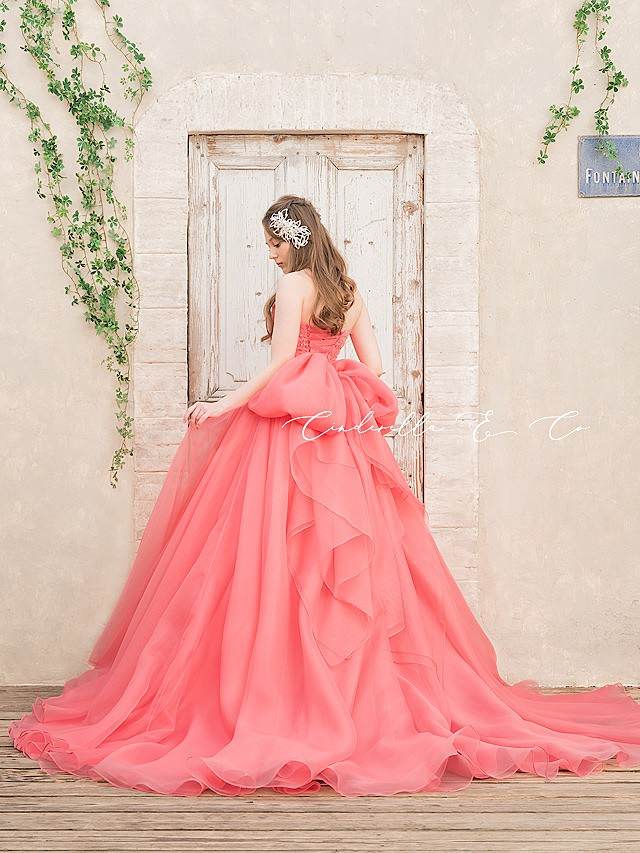 Helena(ヘレナ)キャンディーピンクのオーガンジードレス
