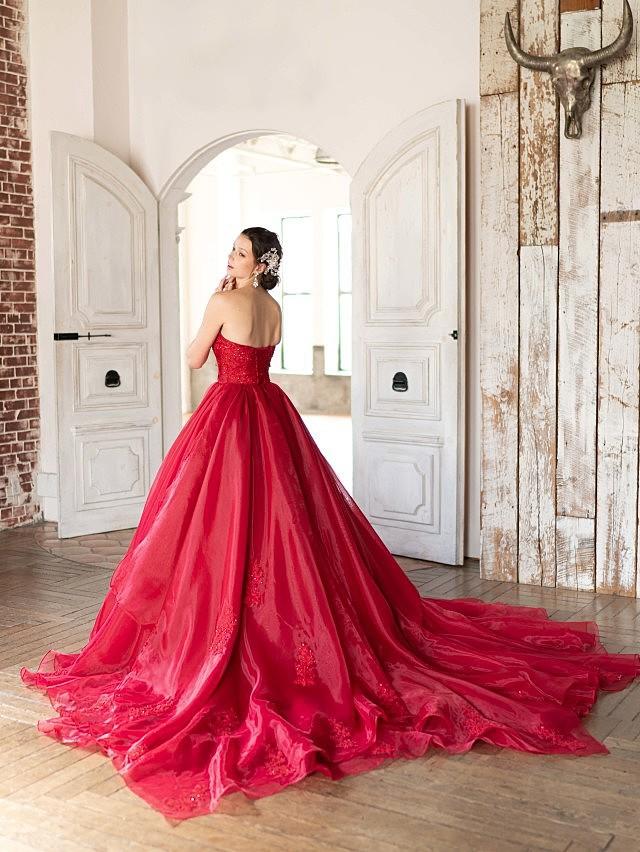 Helena(ヘレナ)レッドのオーガンジードレス