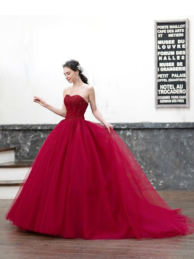 Emily(エミリー)赤いチュールのカラードレス