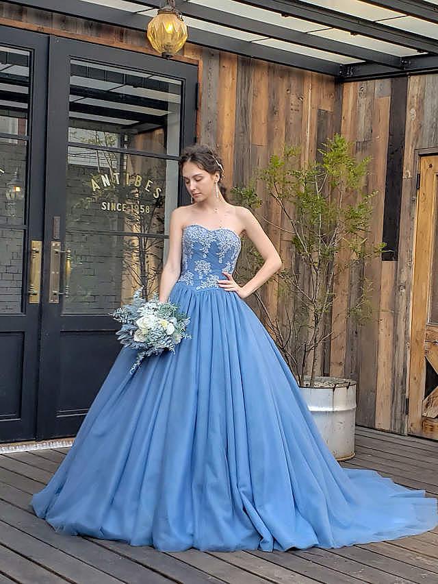 Emily(エミリー)ブルーグレーのカラードレス