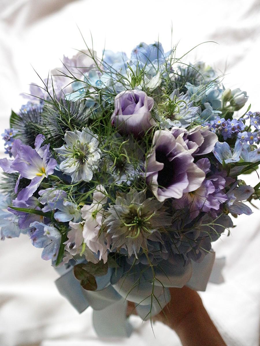ブルー小花のお任せクラッチ