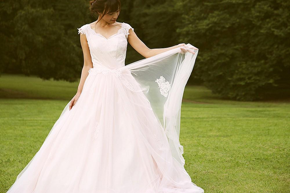 grayish-pink dress