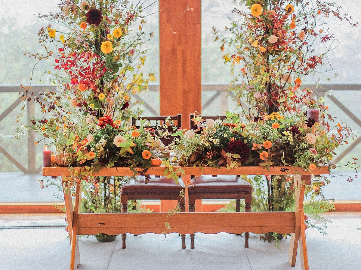 秋のメインテーブル装花