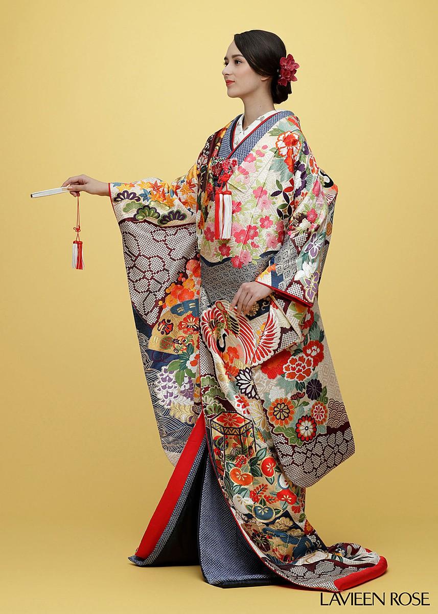 唐織紗綾型に花鶴丸