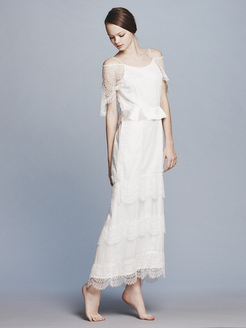 peacock lace off s/s cape dress