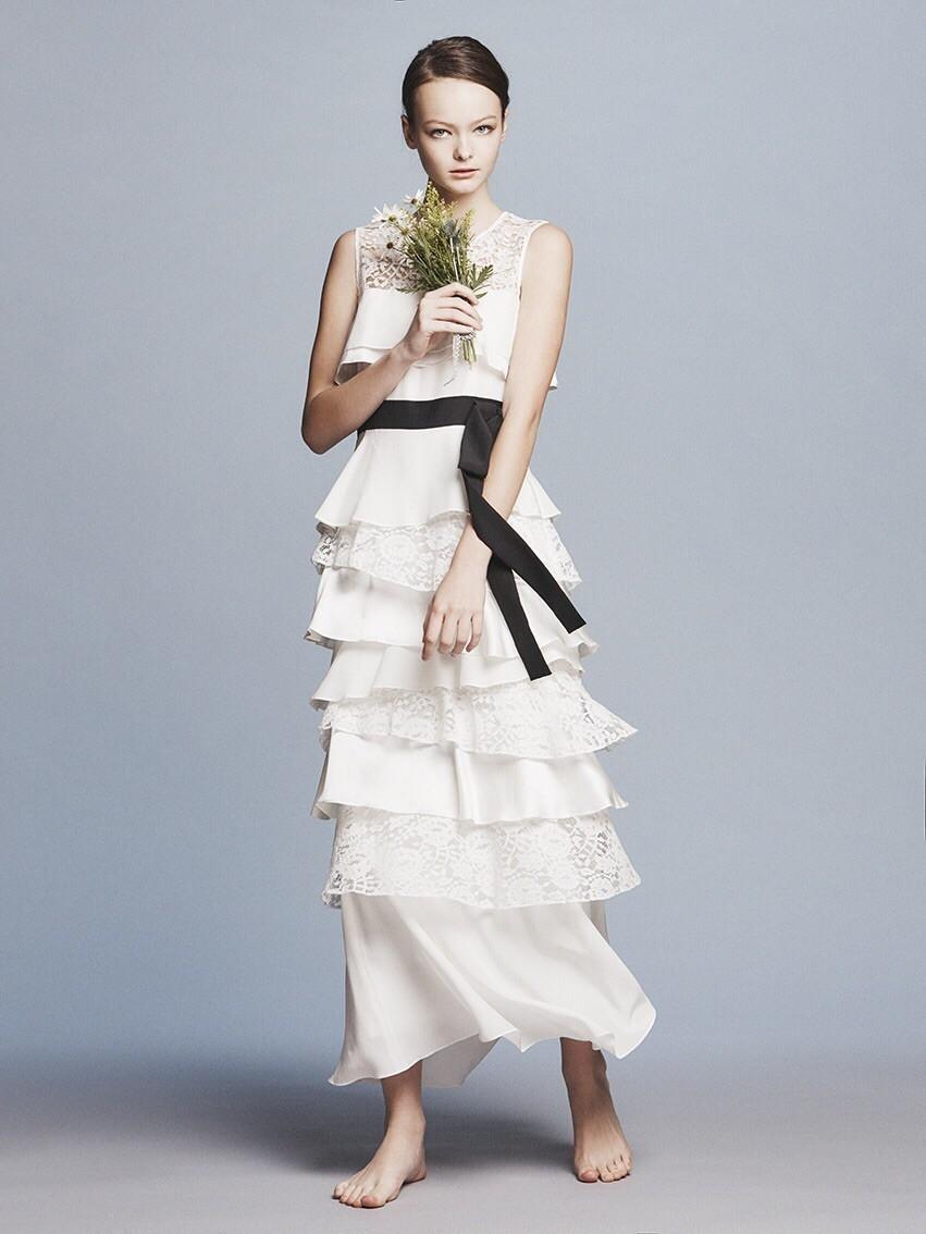 lace/satin/dechin ribbon tiered long dress