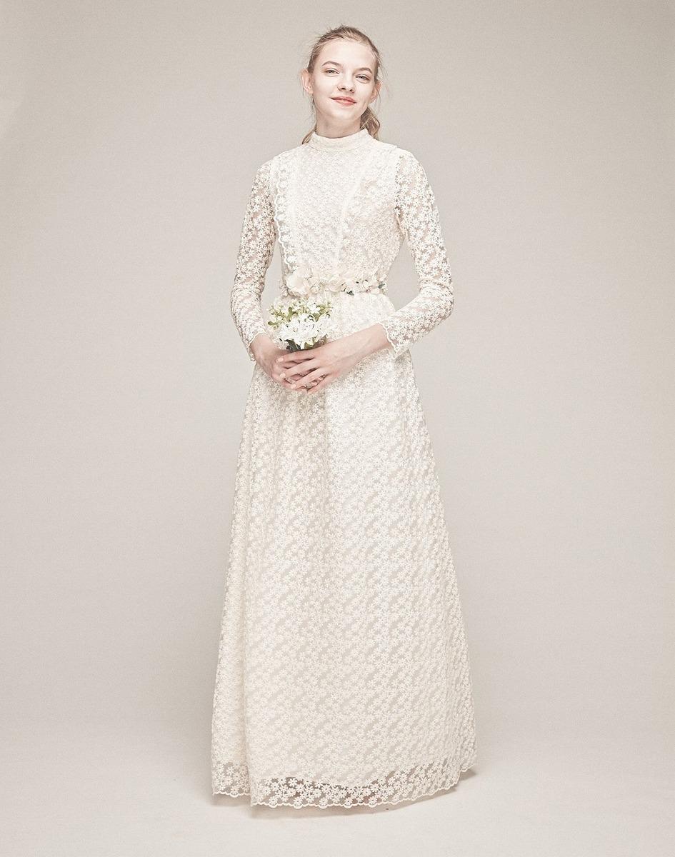 総柄刺繍ドレス