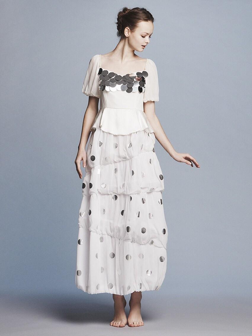 dots yoryu x spangle puff s/s balloon long dress