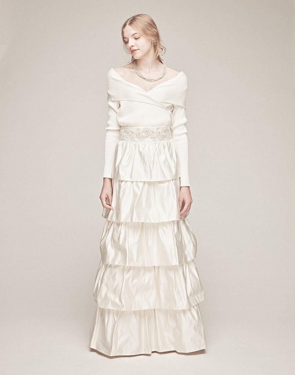 シルクリブニット×サテンティアードドレス