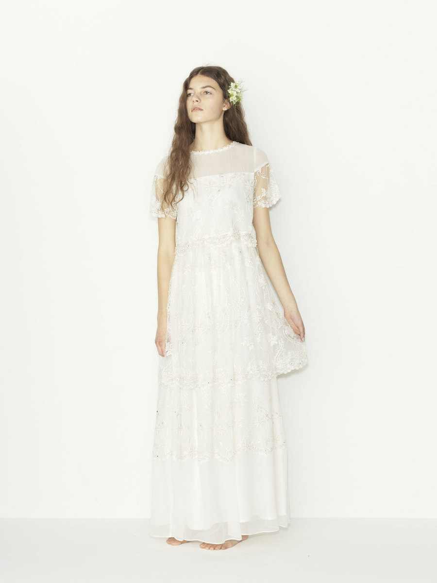 bijou tulle lace S/S tiered wedding dress