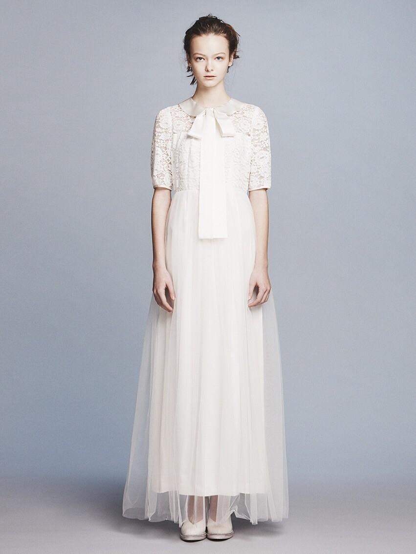 FR flower lace x satin big ribbon collar dress(セミオーダー)