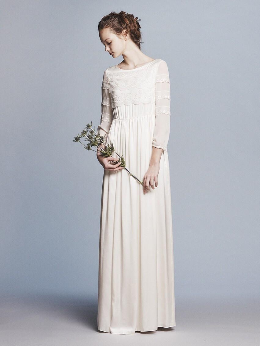 silk satin x lace L/S wedding dress(セミオーダー)