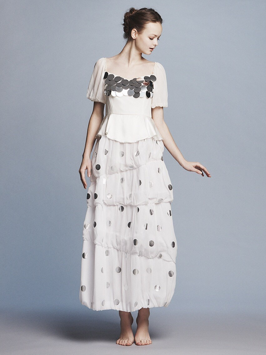 dots yoryu x spangle puff s/s balloon long dress(セミオーダー)