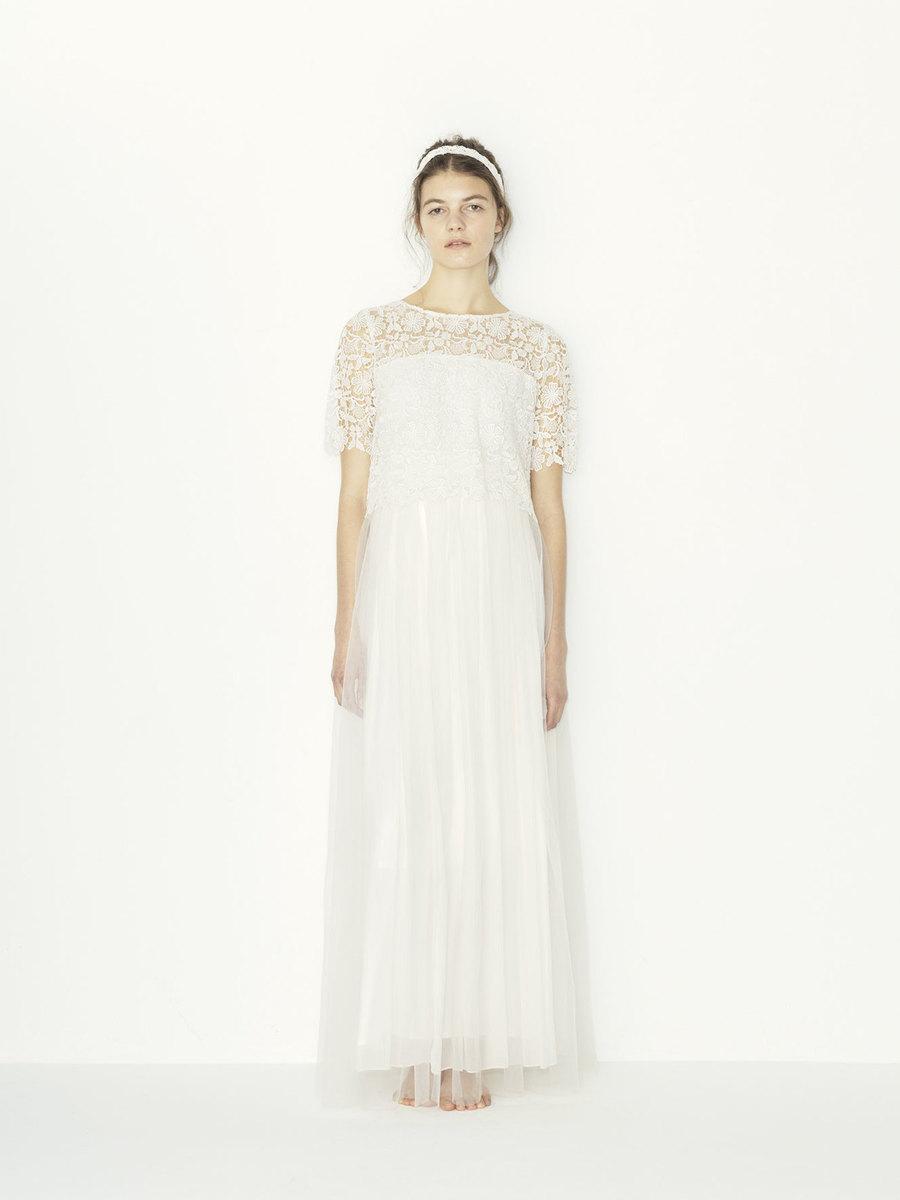 chemical lace x pe yoryu +tulle SK wedding dress(セミオーダー)