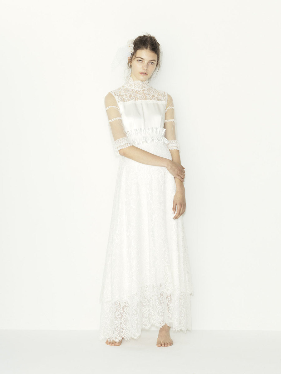 cord leavers lace hi-neck pleats ribbon wedding dress(セミオーダー)