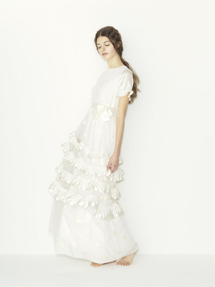 tulle dots x satin pleats ribbon wedding dress